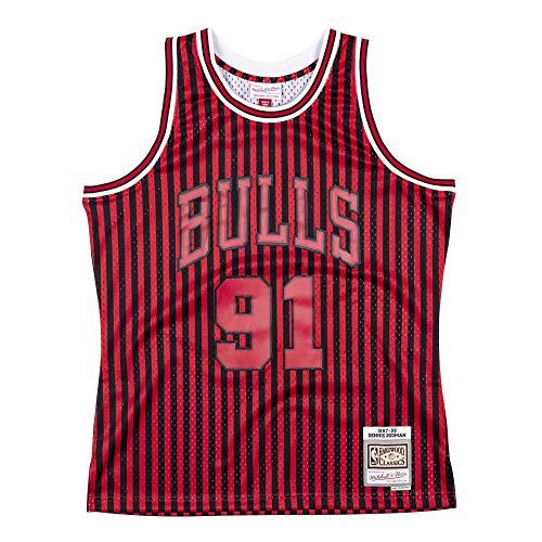 Mitchell & Ness NBA Striped Swingman Chicago Bulls Rodman - Camiseta de manga corta rojo M