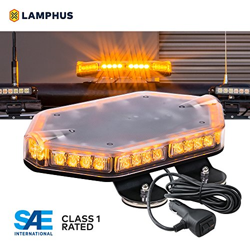 NanoFlare NFMB40 12' 40W AMBER LED Strobe Mini Light Bar [SAE Class 1] [63 Flash Modes] [12ft Cord] [Magnet or Permanent] Amber Yellow Flashing Emergency Warning Light Bar for Truck Vehicles
