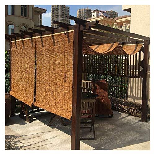 HWF Persiana Enrollable Exterior Sombra de caña Enrollable con Accesorios Persianas enrollables para Patio Exterior Gazebo Balcón Cocina - 60/70/80/90/100/110/120/130/140/150 cm de Ancho