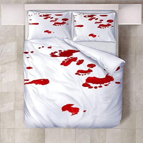 YLWMBB Bettwäsche Blutflecken Weich Atmungsaktiv Bequem und Langlebig 3D Druck Polyester Muster Bettwäsche Set mit 2 Kissenbezügen und Bügelfreiem Reißverschluss 200x200cm
