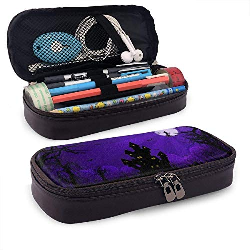 XCNGG Estuche para lápices neceser Halloween Night PU Leather Pencil Case School Office Use Zipper Stationery Organizer