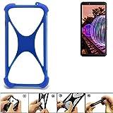K-S-Trade® Handyhülle Für JVC J20 Silikon Schutz Hülle Cover Case Bumper Silikoncase TPU Softcase Schutzhülle Smartphone Stoßschutz, Blau (1x),