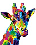 Komking Paint by Numbers for Adult, DIY Paint by Number Kits for Kids Beginner on Canvas Painting Without Frame, Colorful Giraffe 16x20inch