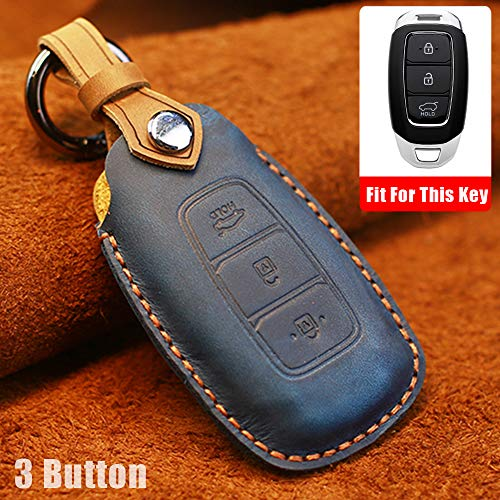 Key Fob Cover Case Remote Holder Skin Protector For Hyundai i30 Ix35 KONA Solaris Azera Grandeur Ig Accent Santa Fe 2017-2019 3 Buttons Leather Smart Key Remote Keyless Entry (Brown)