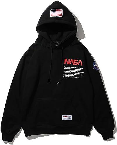 W&TT Sweat à Capuche Unisexe NASA ver avec Kangourou Poche Baseball lache Uniforme pour Les Hommes et Les Femmes,noir,XXL