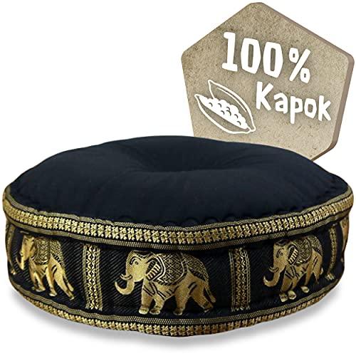 livasia Zafukissen Seide mit Kapokfüllung, Meditationskissen, Yogakissen, rundes Sitzkissen/Bodenkissen (schwarz/Elefanten)