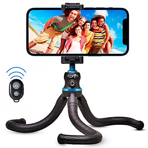 Flyroy   Treppiede Smartphone  Treppiedi cellulare Octopuss  Cavalletto Telefono Modello 2021 Blu Cellulari  Tre piedi per telefono Regolabile e Snodabile  Treppiede compatibile con gopro e iphone
