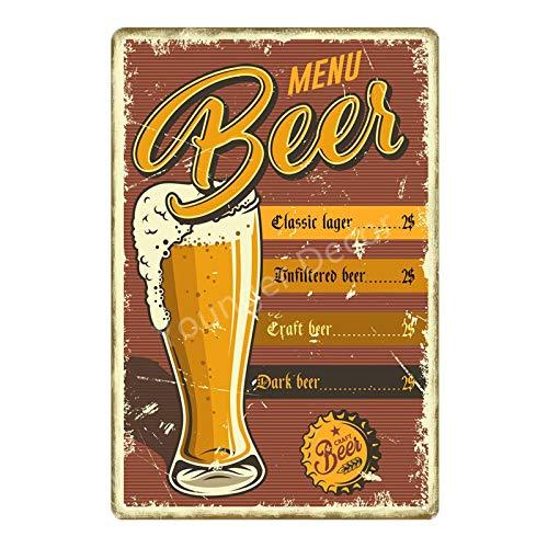 ADFGUYI Cerveza Whisky Ron Retro Letrero de Metal Cartel de Chapa Bar Café Garaje Cartel de Pared Art Deco Placa de Hierro 20x30cm 6