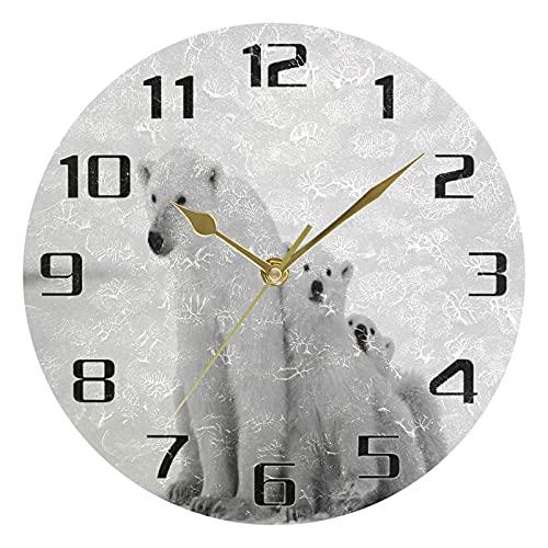 Reloj de pared con oso polar de animales silencioso y sin garrapatas, funciona con pilas para sala de estar, dormitorio, oficina, hogar, cocina, escuela, reloj de mesa de 9.5 pulgadas