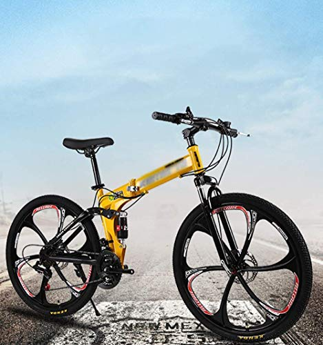 Bicicletas de montaña para adultos plegables MTB Bicicletas plegables al aire libre Bicicletas extranjeras plegadas dentro de 24 pulgadas 24 velocidades para bicicleta al aire libre-amarillo