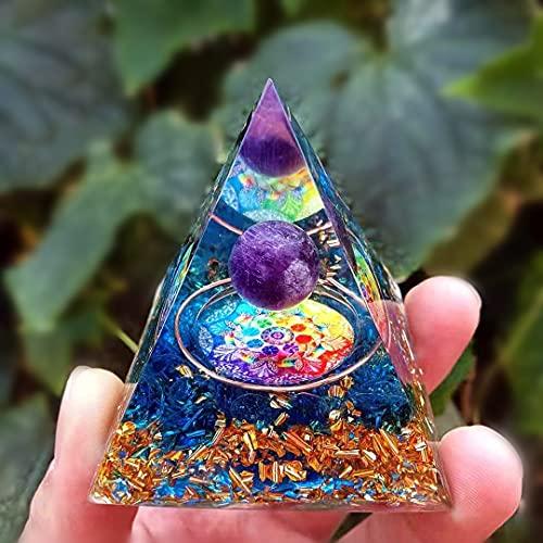 HCHL Pirámide de orgonita, Amatista Orgonita Pyramid 60mm El Juego de pirámide de Cristal con generador de e (Color : B, tamaño : 60X60mm)