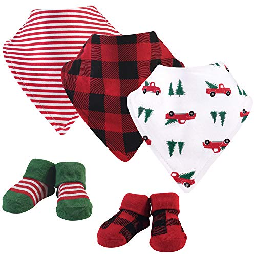 Hudson Baby Unisex Baby Cotton Bib and Sock Set, Christmas Tree, One Size US
