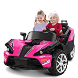 HOMFY 2 Seats Kids Ride On Car for Boys Girls Aged 3 to 8, 12V Powered Electric Vehicle with Remote Control, Bluetooth/MP3 Player/Volume Control (Pink)