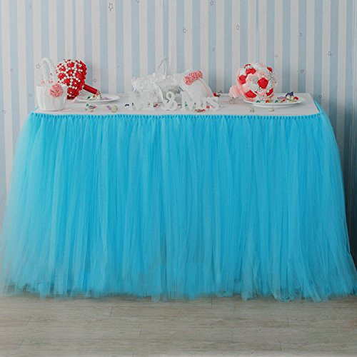 B-COOL Tutu Table Skirt of Anti-wrinkle Lining Queen Wonderland Tutu Table Cloth European Style Wedding Banquet Festival Party Tutu Stage Skirting L6ft H 30in Pink