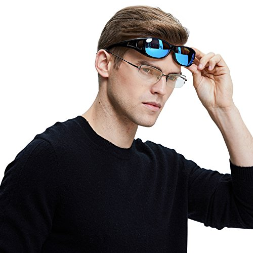 DUCO Unisex HD Wraparound Prescription Glasses Polarized Sunglasses 8953 (M Size Black Frame Revo Blue Lens)