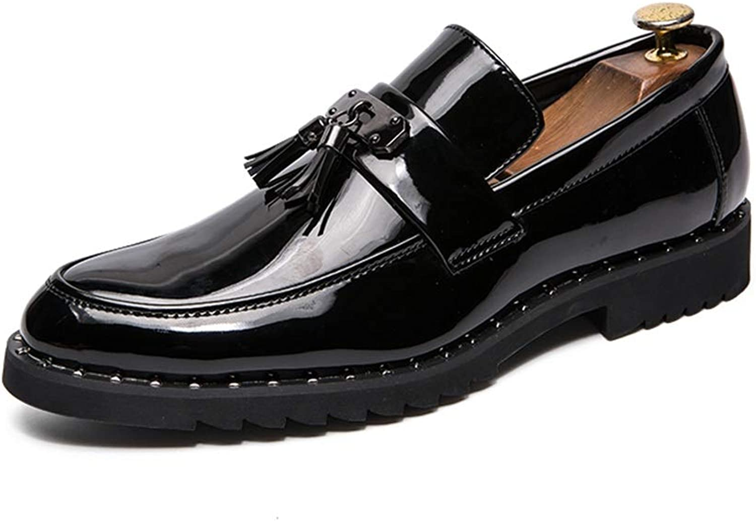 Easy Go Shopping Oxford for Men Tassel Rope Loafer Slip on Patent Leather Casual Strong Antislip Outsole British Style Cricket shoes