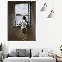 窓辺の少女アートプリント白黒ポスター壁画リビングルーム家の装飾壁画70x100cmフレームレス