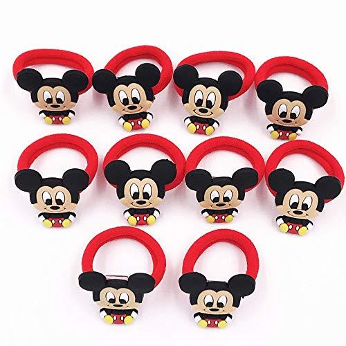 HUANGRONG 10PCS Nylon Mickey Minnie Daisy élastique Cheveux Élastique Enfants Serre-tête Enfants Accessoires Cheveux Fille Bande Cheveux Cartoon Gum Cheveux (Color : Plum)