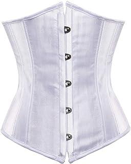 KylaBess Women's Bridal Lingerie Satin Lace Up Boned Underbust Corset Bustier Top