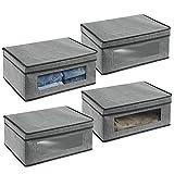 mDesign Juego de 4 cajas de almacenamiento – Organizador apilable grande y de fibra sintética con tapa y ventana de visualización – Cajas para ropa rectangulares para el dormitorio – gris y negro