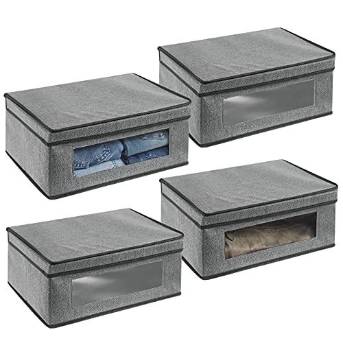 mDesign Juego de 4 cajas de almacenamiento – Organizador a