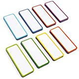 Magnetic Labels Dry Erase Set - 48 Reusable Strips for Classroom Home Office Garage Refrigerator - Blank Writable Erasable Cards Colored Border - Name Tags Students Locker Shelf - Portable Magnets