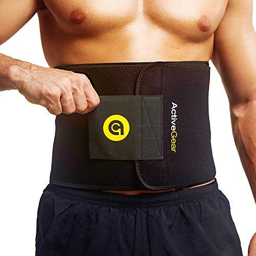 ActiveGear Waist Trimmer Fitnessgürtel Bauchgürtel zur Fettverbrennung - Taillentrimmer Bauchweggürtel für Männer und Frauen - Schwitzgürtel Taille Trainer zum Abnehmen (Gelb Mittel 20cm x 122cm)