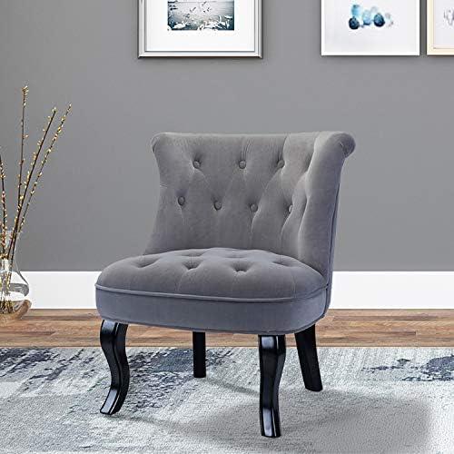 Best Grey Upholstered Chair/Jane Tufted Velvet Armless Accent Chair with Black Birch Wood Legs - Light Gr