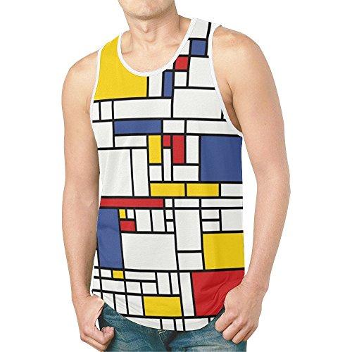 INTERESTPRINT Mondrian Painting Men's Tank Tops Sleeveless Shirt Gym Workout L