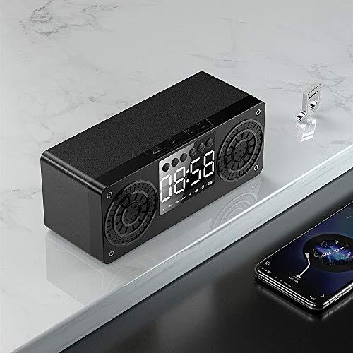 ist Präfekt für Streaming / Podcasting / Gaming Hölzerne tragbare Bluetooth 5.0-Lautsprecher Wecker Wireless-Lautsprecher-Unterstützung TF AUX USB FM Radio für Smartphone-PC ( Color : Black )