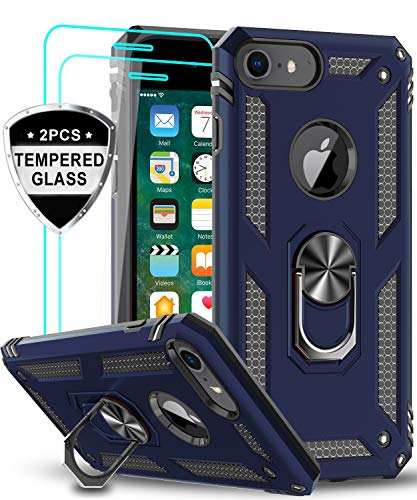 LeYi iPhone 8 Case, iPhone 7 Case, iPhone 6s/ 6 Case with Tempered Glass Screen Protector [2Pack], Military Grade Protective Phone Case with Ring Car...