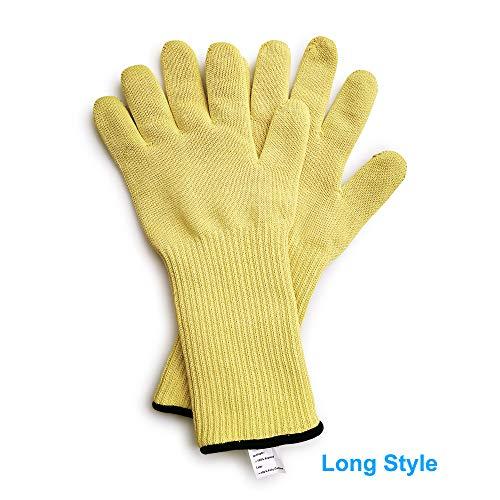 1 Paar Aramidgarn gestrickt lang/kurz Handgelenkschutz Hitzebeständige Handschuhe – hält heiße Schalen/Ofen/Heißformen, hitzebeständig Arbeitshandschuhe, L, 600