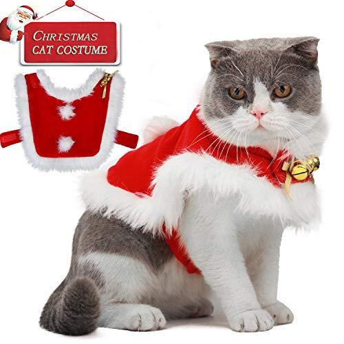 Legendog Katzen Weihnachten kostüm, pet Christmas Costumes/Haustier Weihnachten Mantel Kostüm mit Glocken für Katzen und kleine Hundeparty Dress Up