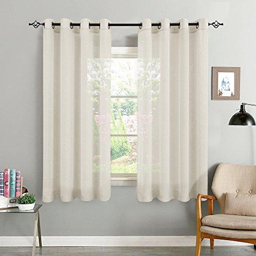 TOPICK Beige Kurze Gardinen Vorhang für Wohnzimmer transparent mit Ösen Ösenschal dekoschal Voile 175 x 140 cm (H x B) 2er Set