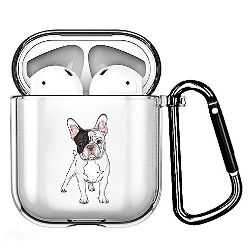 Haiyin French Bulldog Clear Case Cover-Soft TPU Material-Compatible with airpods 2&1, Cute Pet Dog Puppy Design Case with Carabiner (Frenchie)