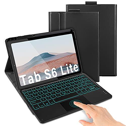 Jelly Comb Custodia con Tastiera touchpad per Samsung Galaxy Tab S6 Lite 10.4 , BluetoothTastiera Italiano QWERTY, Rimovibile, Retroilluminazione a 7 Colori, Cover per Samsung SM-P610 P615, Nero