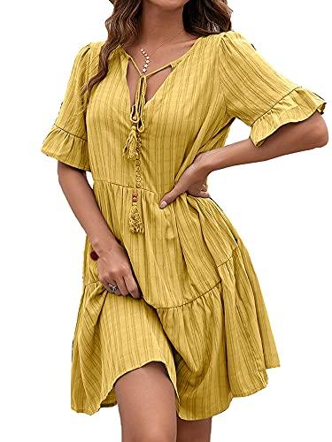 Beautmell Vestidos de verano para mujer, manga corta, cuello en V, casual, sueltos, volantes, midi, amarillo, S