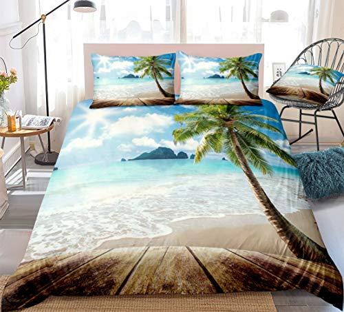 Sunny Beach Bedding Set Ocean Duvet Cover Set Tropical Palm Tree Beach Themed Bedding Set Queen for Teens Adults 1 Duvet Cover 2 Pillowcases (Sunny Beach, Queen)