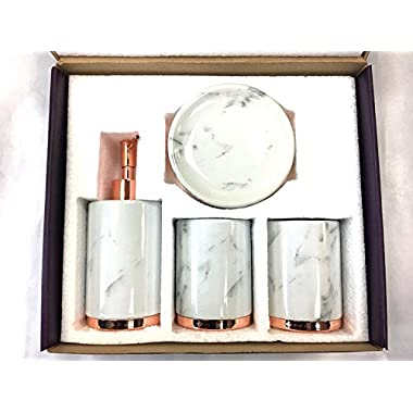 WPM 4 Piece Bathroom Accessory Set. Marble look with rose gold trim French Provincial Bath Gift Set includes liquid soap/lotion dispenser, toothbrush holder, tumbler, and soap dish.