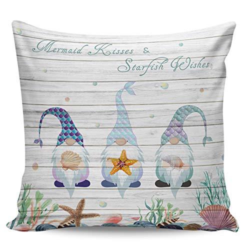 Funda de cojín decorativa de Winter Rangers, diseño de sirena en el océano, en madera retro, ultra suave, cómoda funda de cojín cuadrada, para sofá o dormitorio, peluche corto, Mermaidwrs8280, 16' x 16'=40 x 40cm
