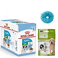 ROYAL CANIN Mini Puppy Wet Dog Food in Gravy Pack 12 x 85g. and Healthy Calming Treats for Puppy and...