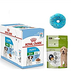Royal Canin Mini Puppy Wet Dog Food in Gravy Pack 12 x 85g. and Healthy Calming Treats Digestive Health: Combination of nutrients with high quality protein and prebiotics to support digestive health and the balance of intestinal flora Immune System S...