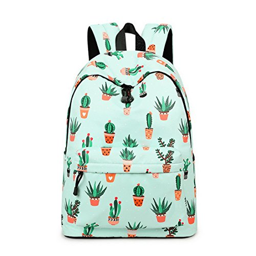 Acmebon Mochila Escolar de Ocio Ligera y Moderna - Cartera Escolar para Niñas y Niños con Lindo Estampado Cactus 626