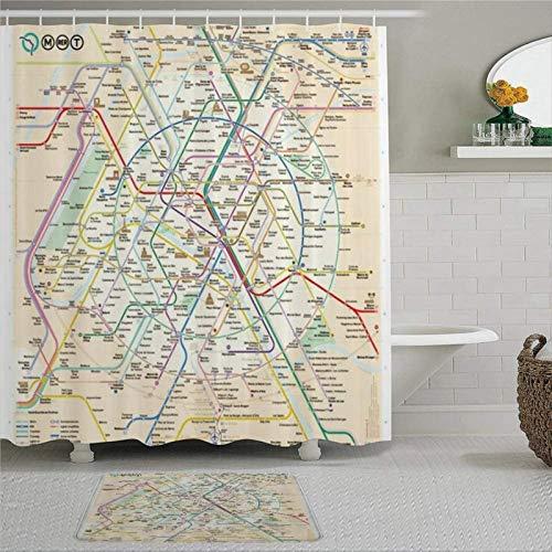 EricauBird Paris Metro Map Duschvorhang mit Ringen, Polyestergewebe, Duschvorhänge mit Haken, Bad-Dekor