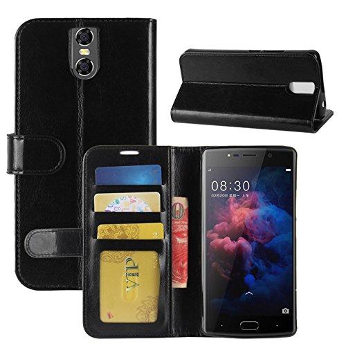 HualuBro DOOGEE BL7000 Hülle, Premium PU Leder Leather Wallet HandyHülle Tasche Schutzhülle Hülle Flip Cover mit Karten Slot für Doogee BL7000 5.5 Inch Smartphone (Schwarz)