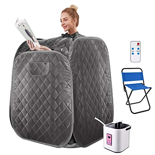 OppsDecor Portable Steam Sauna Spa, 2L Personal Therapeutic Sauna for Weight Loss Detox Relaxation at Home,One Person Sauna with Remote Control,Foldable Chair,Timer(US Plug) (Gray) (Dark Silver)