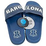 Chanclas Pala Robin Ruth Diseño Barcelona Zapatos de Playa Piscina y Casa para Hombre Sandalias de Baño Punta Descubierta Impresión Barcelona resistentes y ergonomicas