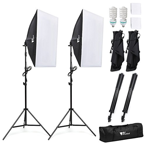 Amzdeal Softbox kit 2 Professionale Illuminazione 1124W, Luce Continua 5500K con 2 x Lampade 50 x 70cm, 2 x Supporto e 1x scatola d'imbagaglio, Per la Fotografia di Prodotti e Ripresa di Video (Elettronica)