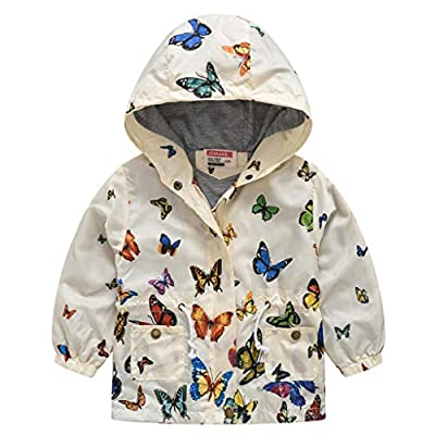 WOCACHI Boys Girls Windbreaker, Toddler Kids Baby Girls Boys Butterfly Hooded Zipper Wind Coat Outwear Clothes All Saints' Day Ghosts Witches Candy Sweet Goblin Bone Warlock Bat Dolman Skeleton