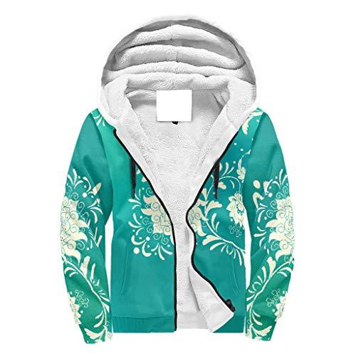 O2ECH-8 Mann Reißverschluss Oben Winter Vlies Sweatshirt Teen Students Spring Green Mandala Grafik Weinlese - Vlies Slim Uniform für Neujahrsgeschenk White l